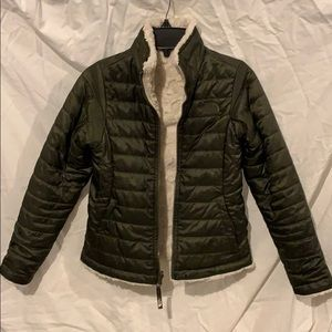 North Face Army Green & Cream Reversible Jacket